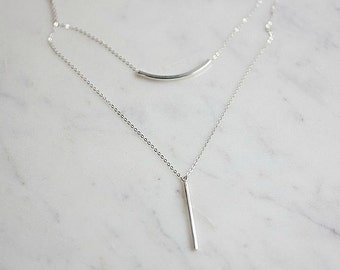 924 Sterling Silver Vertical Bar Necklace - Silver Vertical Bar Necklace - Vertical Bar Necklace - Layering necklace