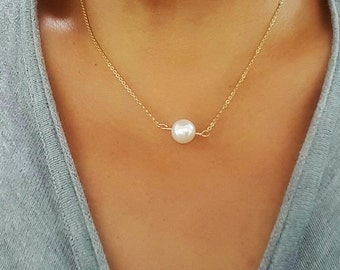 Floating Pearl Necklace - Single Pearl Necklace - Swarovski Crystal Pearl necklace - Bridal Wedding Gift