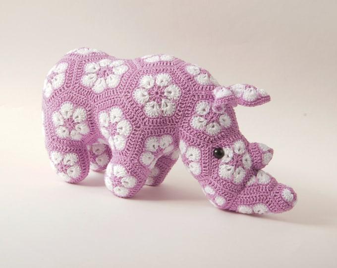 Crochet Toy Doll Amigurumi Jungle African Animal Rhino Stuffed Toy Present Gift for Boy Girl Baby Custom Color Shower