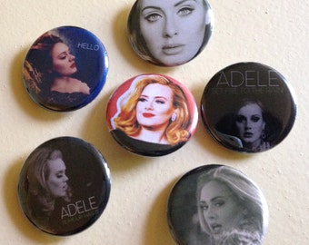 """Adele set of 6 pin back buttons 1.25"""""""
