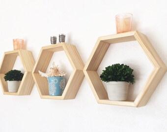 Honeycomb Shelves- Geometric Shelf Set - Hexagon Shelves - Natural Color Shelves - Nursery Decor - Choice of Stain Color