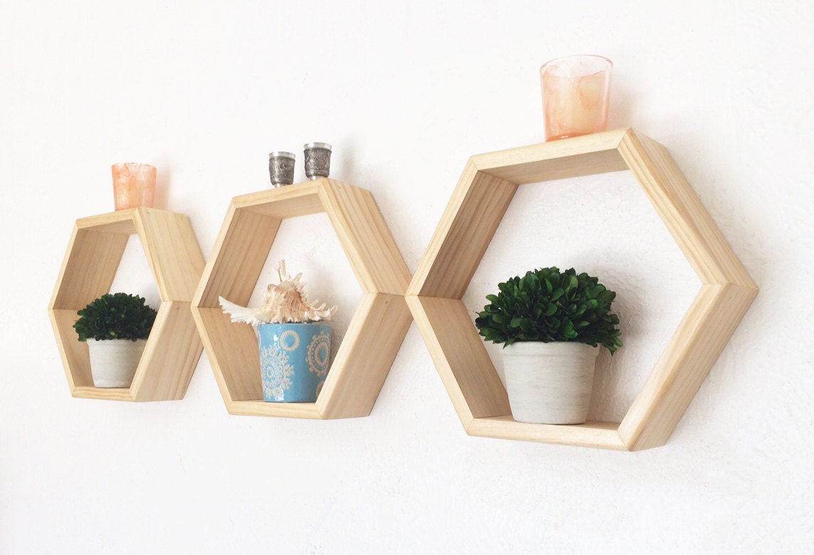 Honeycomb Shelves Geometric Shelf Set Hexagon Shelves