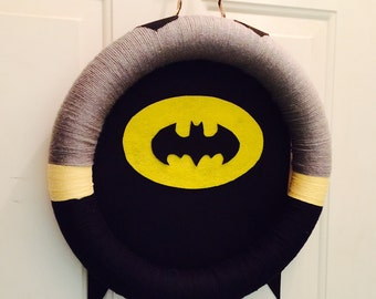 batman wreath, Yarn Wreath, Super Hero Wreath, marvel comics wreath