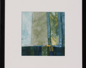 "Quilt, patchwork, original, textiles mural, Artquilt, title: ""Hopeful blue"""