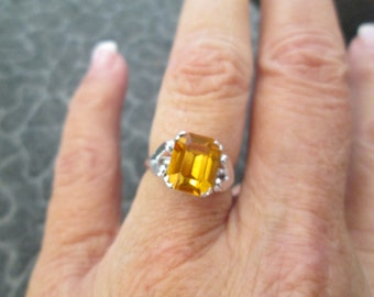 Vintage Yellow Topaz Ring, size 7 available, never worn