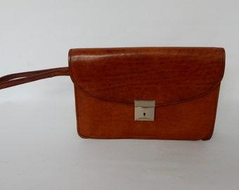 A Lovely Vintage Brown Leather Clutch bag, Purse, Handbag, Vintage Bags, good condition, Retro,