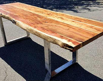 """94"""" Acacia Wood Live Edge Dining Table, Hand Crafted 010 SOLD"""