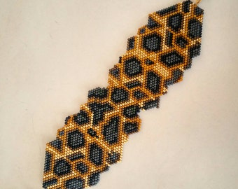 Handmade miyuki delica beaded bracelets wild leopard