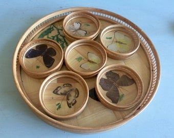 Bamboo butterfly tray with 6 matching coasters pressed butterflies rattan tray