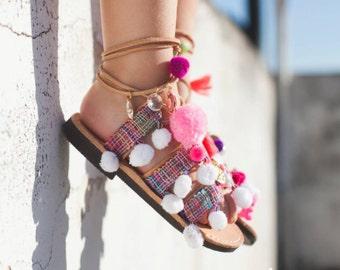 "little girl lace up / tie up gladietor sandals / aelia greek sandals / boho / pom pom sandals / ""Anastasia white/"