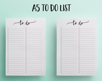To Do List , A5 Planner Inserts, To Do List, A5 Printable, A5 Inserts, Daily Planner, To Do List Printable, Printable Planner, A5 FIlofax