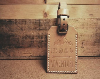 Let's Go On An Adventure - Leather Luggage Tag - Double Sided with Address Window