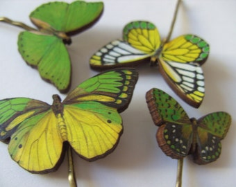 Green and yellow, wooden butterflies, hair slides, set of four,butterfly pins,  by Newellsjewels on etsy