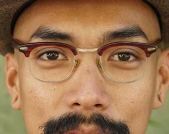 Vintage C.O.C Made In USA 1950's Eyeglasses Combination Men's Frame New Old Stock 12k Gold filled 44-24