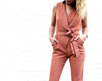 Alex Jumpsuit Romper Tie Waist Trouser Pant Orange Rust