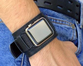 Apple Watch bracelet fait main Vintage noir. Ergots adaptateur pour Apple Watch (ou Apple Watch Sport) 42mm, 38mm. Deux en un. A09