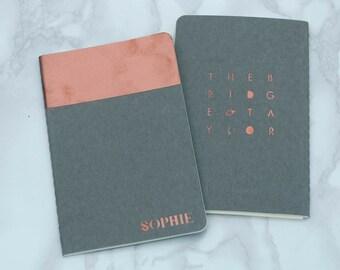 Hand Printed Copper Moleskine Personalised Notebook