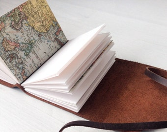 Travelers notebook, world map journal, personalized travel journal, travel gifts, brown leather journal, personalised monogram optional, A7