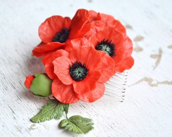 Poppy hair comb, poppy flowers, poppy hair, poppy hair jewelry, poppy hair accessories, poppy jewelry, poppy clips, red poppy hair comb