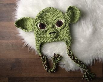 Crochet Yoda Hat | Crochet Yoda Costume | Yoda Hat | Yoda Costume | Crochet Gifts | Custom Crochet | Crochet Winter Hats | Crochet Beanie |