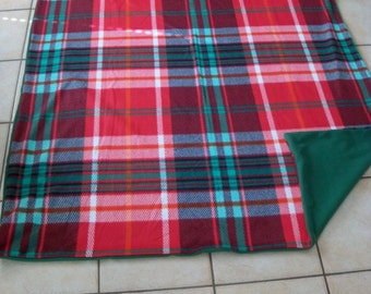 Warm Christmas Colors Tartan Looking All Fleece Throw Blanket