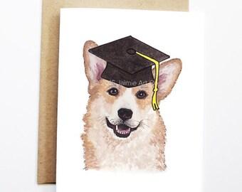 Graduation Card - Corgi, Grad Card, College Graduation, High School Grad, Congrats Grad, Congrats Card, Cute Dog Card