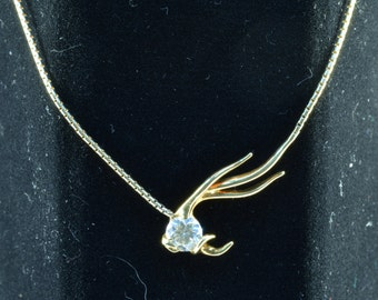 Antler necklace in 18k yellow gold with .75 tw Diamond.   # 323