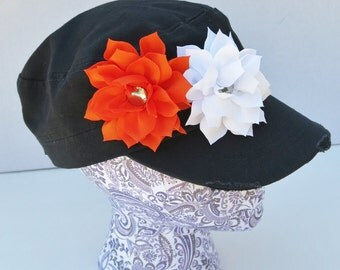 Cincinnati Bengals hat, Oregon St Beavers hat, black military hat with orange and white flowers, distressed cadet hat, Bengals flower hat