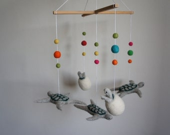 Turtle mobile and baby turtle in felted wool of sheep