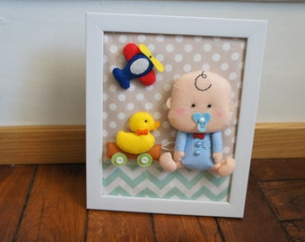 Table baby boy, plane and stroller duck in felt