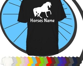 Mens Custom Printed Horse T Shirt - Riders Name Tshirt - Horse Personalised T-Shirt  - Personalized Equestrian Jockey Present