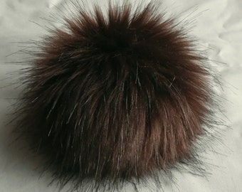 Size L (dark brown) faux fur pom pom 5.5 inches/ 14cm