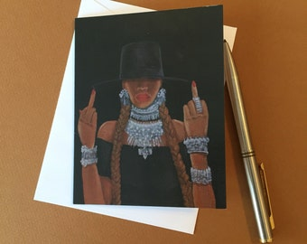 """Middle Fingers Up, Beyoncé Formation, 4""""x6"""" Art Greeting Card"""