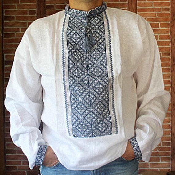 Rushnichok vyshyvanka mens ukrainian embroidery shirt for Mens dress shirt monogram location