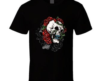 Roses Skull t-shirt. Roses Skull tshirt. Roses Skull tee for him or her. Roses Skull idea gift as a Roses Skull gift. Roses Skull shirt
