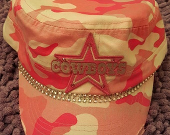 Handcrafted One of a Kind Pink Camo Dallas Cowboys Bling Military Cadet Hat