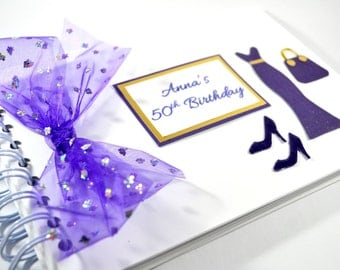 Birthday Guest Book / Personalised guest book / 21st 25th 50th birthday guest book / White Purple and gold guest book / Custom guest book