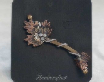 Gardella Jewelry ~ Oak Brooch ~ Silver, Copper & Brass - Vintage (Earth Dreams)