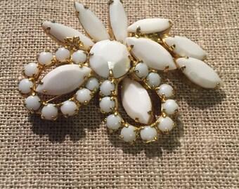 Vintage prong set milk glass brooch, white milk glass beads set in gold tone metal