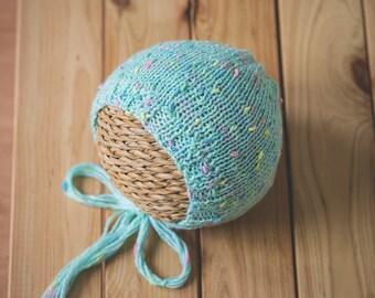 Mint Hand Knitted Newborn Baby Bonnet, Newborn Hat, Photography Props, Photo Props, Baby hat, Girl hat, Boy hat, Infant Hat
