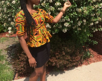 Ethnic: African Kente Cloth Peplum Blouse