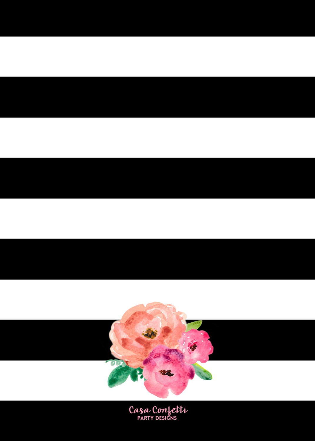 Black and White Striped Gold Foil First Birthday by ...