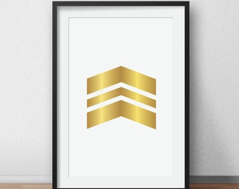 Gold Chevrons Wall, Arrows gold poster, Geometric Print, Chevron Print, Gold Wall Prints, Chevron Wall Art, Turquoise Chevron Wall Print