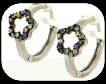 "925 Sterling Silver Huggie EARRINGS Multi-Color Cubic Zirconia CZ 9/16"""