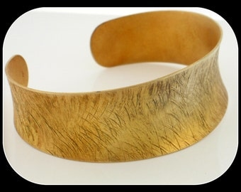 Brand new 18K yellow gold / 925 sterling silver handmade textuted CUFF BRACELET