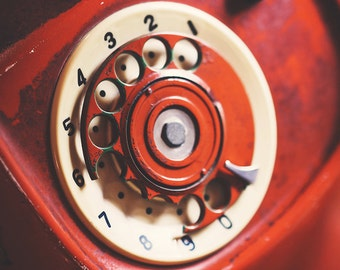 Rotary Phone Print, Red Rotary Phone, Vintage Rotary Phone, Shabby Chic Art, Old Fashion Phone, Red Decor, Vintage Decor, Room Decor