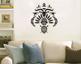 African human face cow head scorpion set decal, tribe feature decal