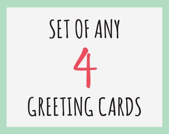Set of any 4 Greeting Cards with kraft envelopes