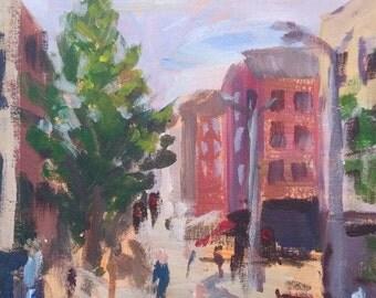 Impressionist Acrylic Painting on canvas board, Original Art Plein-air, 12x16in, Irish street, urban scene
