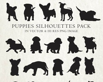 Dog Puppy Silhouette Clipart, Dog Silhouette Puppy Clipart, Dog Puppy Clip Art Vector EPS AI & PNG Design Elements Digital Instant Download